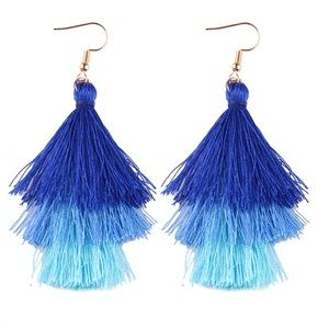 Jewelry - 3 Layer Blue Fringe Tassel Earrings